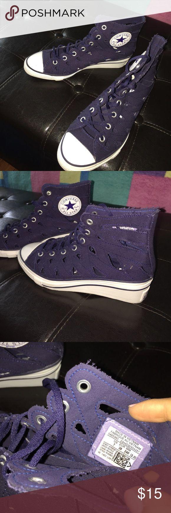 Converse wedge sneakers NWOB Never worn wedge converse sneakers, cutouts on them! Converse Shoes Sneakers