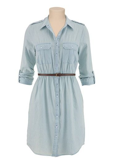 Belted Chambray Shirtdress available at #Maurices