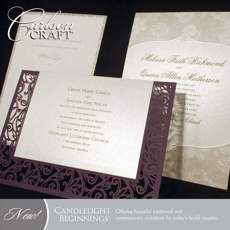 how to address couples on wedding invitations%0A The new Candlelight Beginnings album from Carlson Craft offers classic   elegant wedding invitations  including
