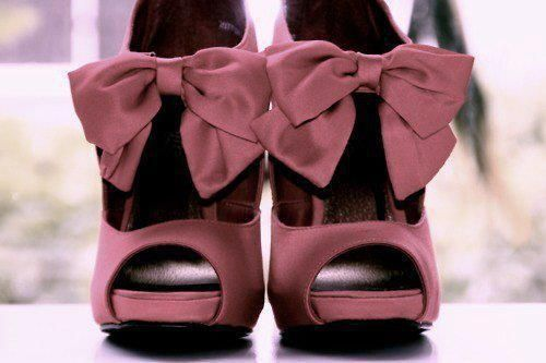 Cute!: Fashion, Bows Heels, Purple, Clothing, Color, Pink Bows, Styles, High Heels, Bows Shoes