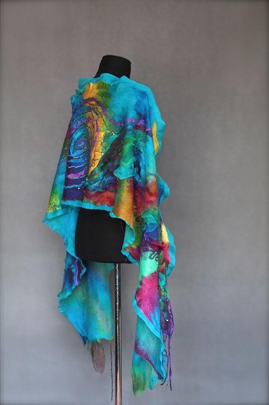 Nuno felted scarf wrap