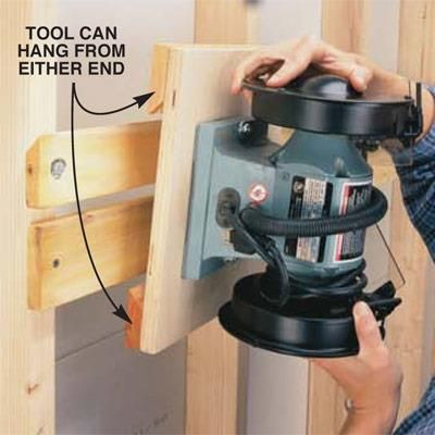 DIY Tip of the Day: Storing bench-top tools. Workbench cluttered with bench-top tools? Lag-screw each tool to a 3/4-in. base. Saw a 40-degree angle on one edge of a 1 x 3 and cut it into cleats. Screw two cleats to each base with the angle facing inward. Fasten a board with a 40-degree edge to the studs. Hang the tools from either end of the base. Hang only lighter-weight bench-top tools.