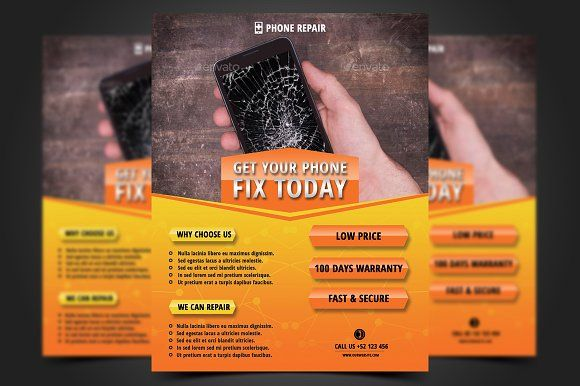 Smartphone Repair Flyer Template by meisuseno on @creativemarket