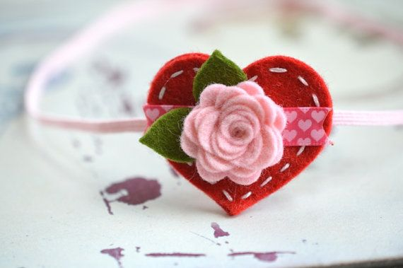 Valentines Day Heart Headband With Felt Flower in  Soft by bloomz, $7.95