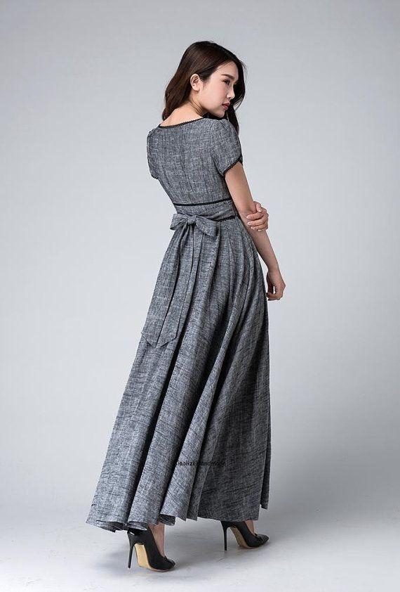 Gray maxi dress empire waist dress Garden party dress by xiaolizi