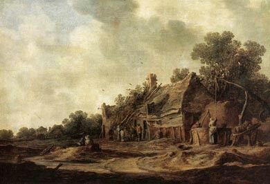 Peasants huts, by Jan van Goyen