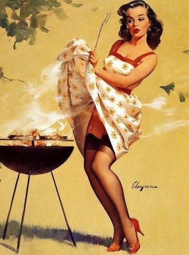 Retro Vintage Pin-Up Girl w. BBQ PDF Cross-Stitch Pattern | BellaStitchery -