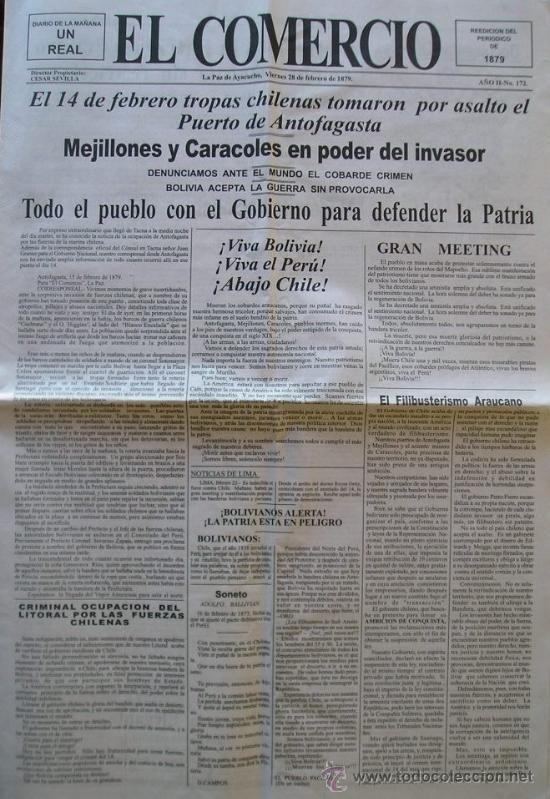 GUERRA PACIFICO PERIODICO COMPLETO DE BOLIVIA FACSIMIL AÑO 1879 DEL DIA QUE CHILE OCUPO ANTOFAGASTA (Militar - Libros y Literatura Militar)