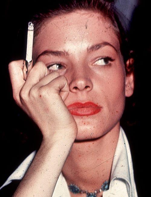 "Lauren Bacall on set of ""Key Largo"""