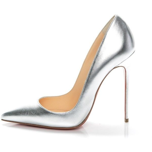 CHRISTIAN LOUBOUTIN Metallic Kidskin So Kate 120 Pumps 35.5 Silver ❤ liked on Polyvore featuring shoes, pumps, silver evening shoes, christian louboutin pumps, red high heel pumps, silver high heel shoes and pointed-toe pumps