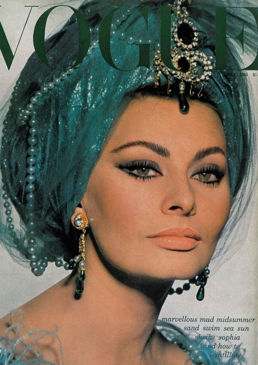 Sophia Loren wearing a jeweled turban.  c. 1960's