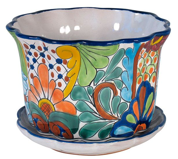 This Wavy Lip Talavera Flower Pot With Attached Base Will Add A Colorful  Splash Of Mexico To Your Patio Or Any Room In Your Home. Our Talavera Garden  ...