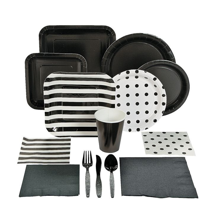 Black Tableware - OrientalTrading.com-Could mix in black & white Dollar store plates, etc, with the stripes & polkadots?
