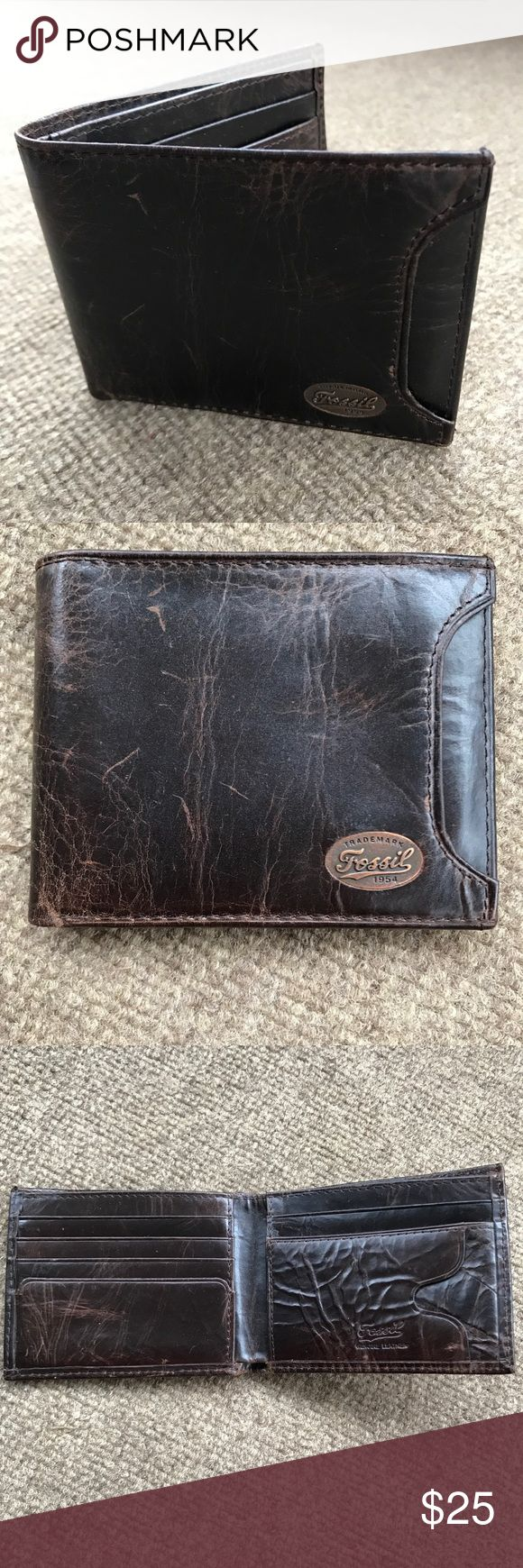 "Men's FOSSIL Wallet Bifold style brown textured wallet. 6 card slots & bill slot inside and pocket on front for ID slider which is NOT included (my hub bought this solely for the slider). Shows very minor signs of use.  4.5"" across by 3.5"" tall when in closed position. Comes from smoke free, cat friendly home. Fossil Bags Wallets"