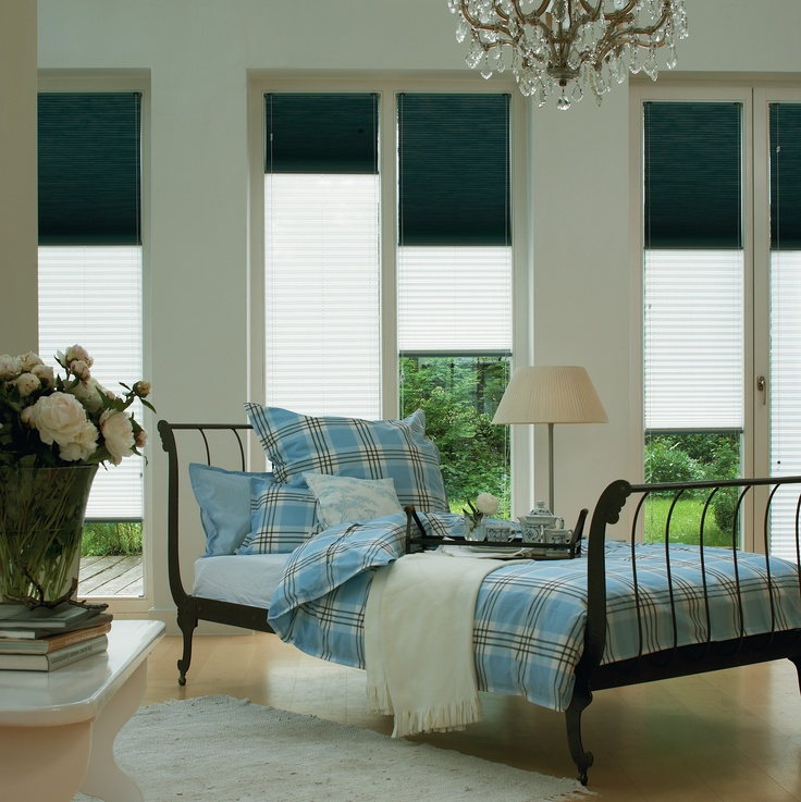 Top-down/bottom-up Duette® Shades offer you the ability to operate shades from the top down, the bottom up, or in combination of the two. Quite literally the best of both worlds—natural light and privacy all in one.  #bedroom#blinds #home decor #luxafex