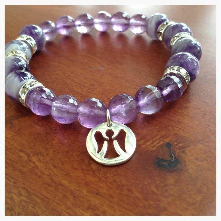 Sterling Silver Angel Charm Purple Beaded Bracelet