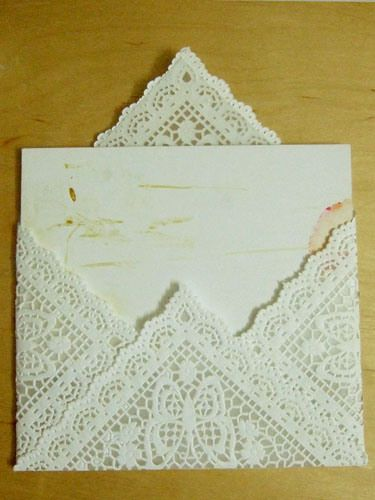 DIY Lace envelope made from doilies. From http://welovelaughkiss.wordpress.com/2009/09/02/she-says-do-it-myself-dim-lace-paper-envelope/