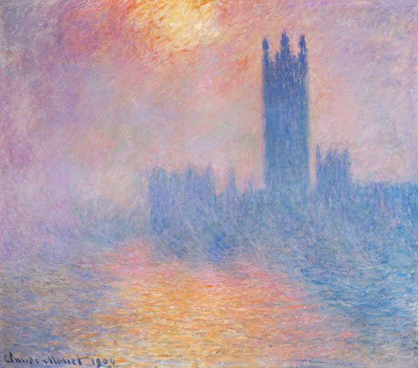Claude Monet - Le parlement de Londres, soleil perçant sous le brouillard