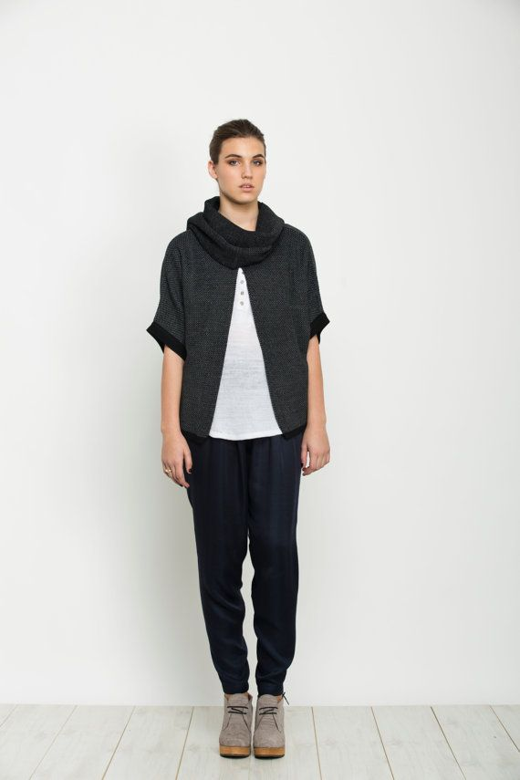 Women black knitted sweater with a scarf grey by AndyVeEirn, $128.00
