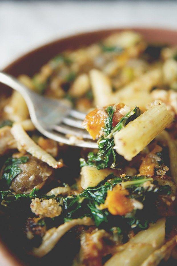 Roasted Vegetable Pasta with Sauteed Kale + Walnut Pesto