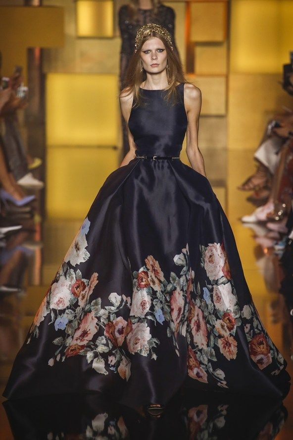 Elie Saab - Autumn/Winter 2015-16 Couture - Paris. Printed silk gazar sleeveless gown, with a boat neckline, a full skirt and open back.