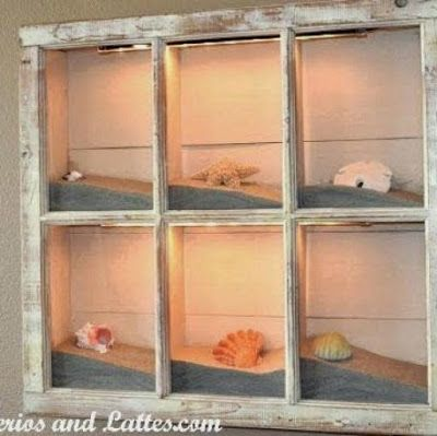 50 Magical DIY Ideas with Sea Shells | Do it yourself ideas and projects  -  THIS WOULD BE IDEAL IN KITCHEN OR LIVING ROOM....PROBLEM is only have a tiny bit of sand out of the  sand dollars from our life, in Salinas, Calif. in 1975/76.
