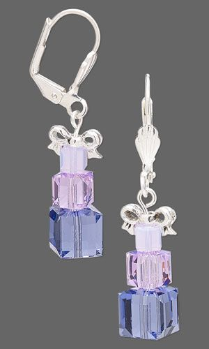 Earrings with SWAROVSKI ELEMENTS and Silver-Plated Pewter Beads