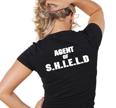 Agents of S.H.I.E.L.D. SHIELD T-Shirt Woman's V Neck Black The Avengers in Clothing, Shoes & Accessories | eBay