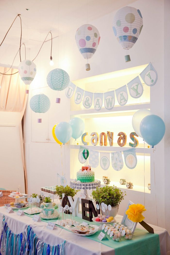 Hot Air Balloon themed birthday party with so many cute ideas via Kara's Party Ideas : Paper lanterns hot air balloons