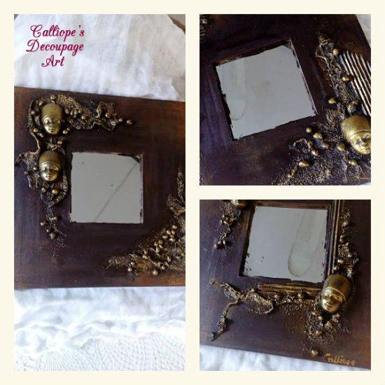 Σύνθεση από ξύλινους χειροποίητους καθρέφτες | Calliope's Decoupage Art