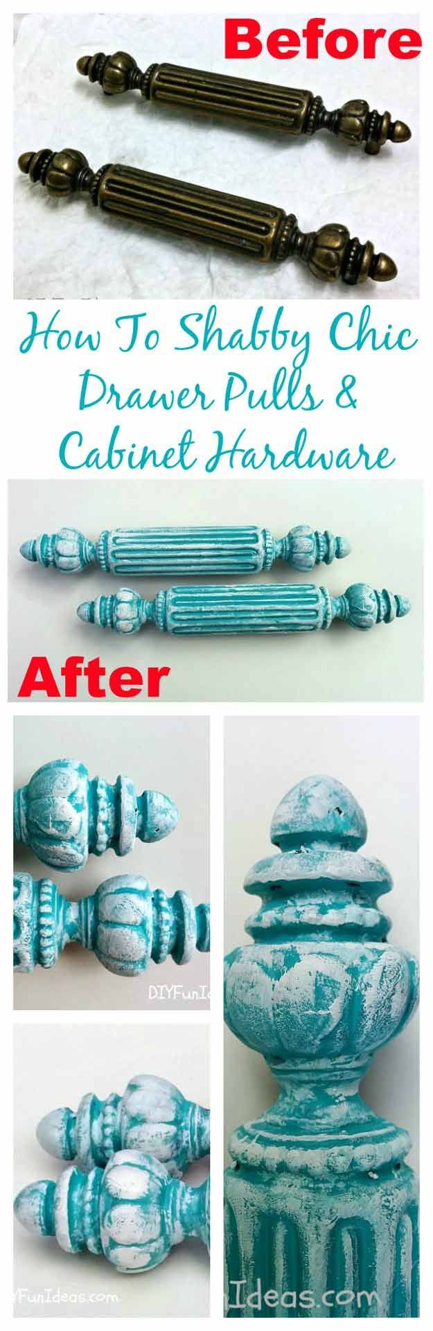 DIY Vintage Distressed Shabby Chic Furniture Ideas | Shabby Chic Drawer Pulls and Cabinet Hardware by DIY Ready at http://diyready.com/12-diy-shabby-chic-furniture-ideas/