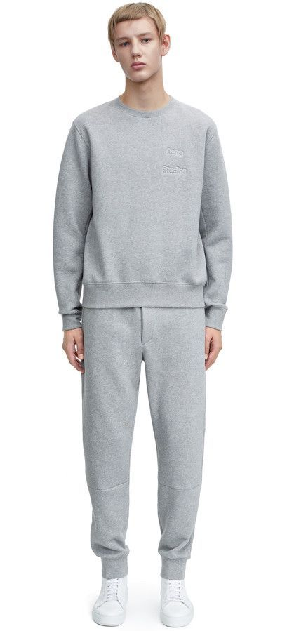 Corben logo embossed sweatshirt and Corben fleece sweatpants #AcneStudios #menswear #SS15