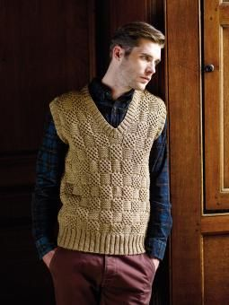 Harald Knit this mans cabled basket stitch pullover from the Simple Shapes Pure Wool Worsted Collection, designed by Martin Storey using the divine yarn, Pure Wool Worsted (superwash wool). With a V neck, ribbed edgings and a beautiful stitch pattern throughout, this knitting pattern is suitable for the intermediate knitter.