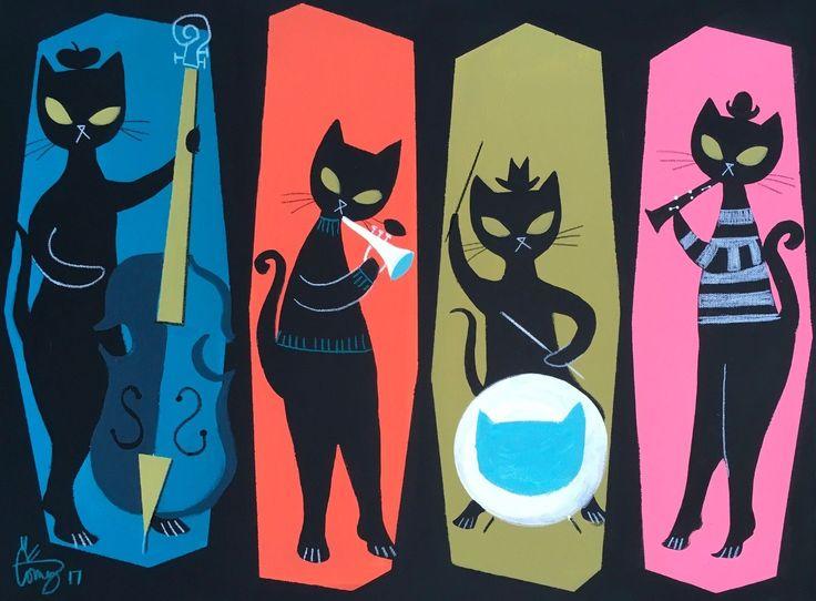 El Gato Gomez Retro De colección mediados siglo moderno Eames Beatnik Jazz Gato Negro años 50 | eBay