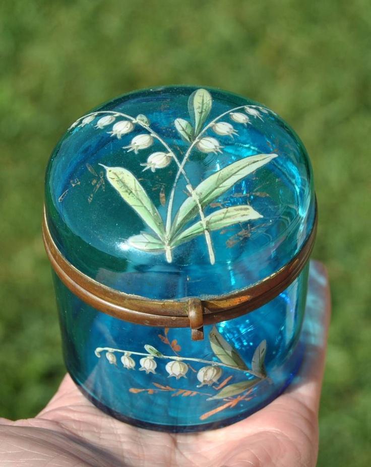 OLD~Aqua BLUE GLASS HP Enamel POWDER JAR~Lily Of The Valley~Dresser Box~Bohemian | eBay