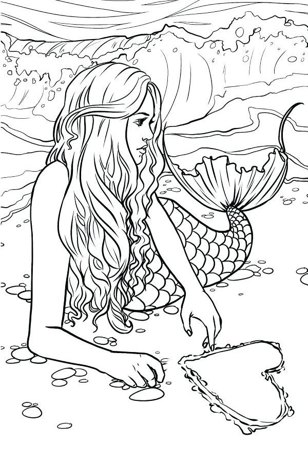 Mermaid Coloring Pages For Adults Mermaid Coloring Pages