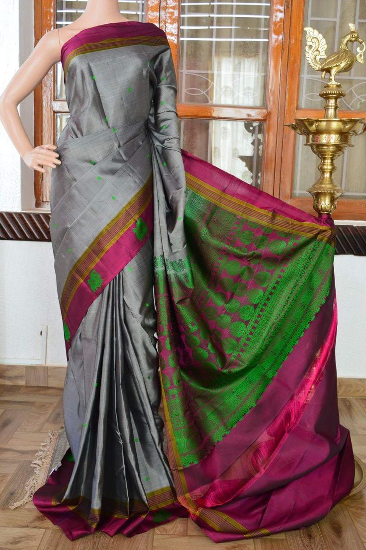 Ash colour pure soft silk saree with dark majanta border and green thread work on body and border with thread work rich pallu. Code: J0717SS152001 Cost: 7300 INR Mail: vasthramsilk@gmail.com Whats app: +91 7019277192