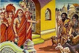 "Once, in Kasi, when Sri Sankara was going to the Vishwanath Temple, his path was blocked by an ""untouchable"" who was accompanied by his wife and 4 dogs. The disciples of Sri Sankara shouted at him to make way, and to keep a distance."