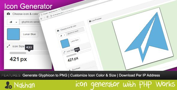 Icon Generator . Convert Bootstrap Glyphicon Components to