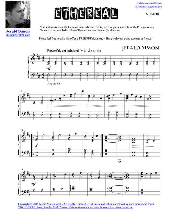 Ethereal Free Pdf Piano Music By Jerald Simon Published By