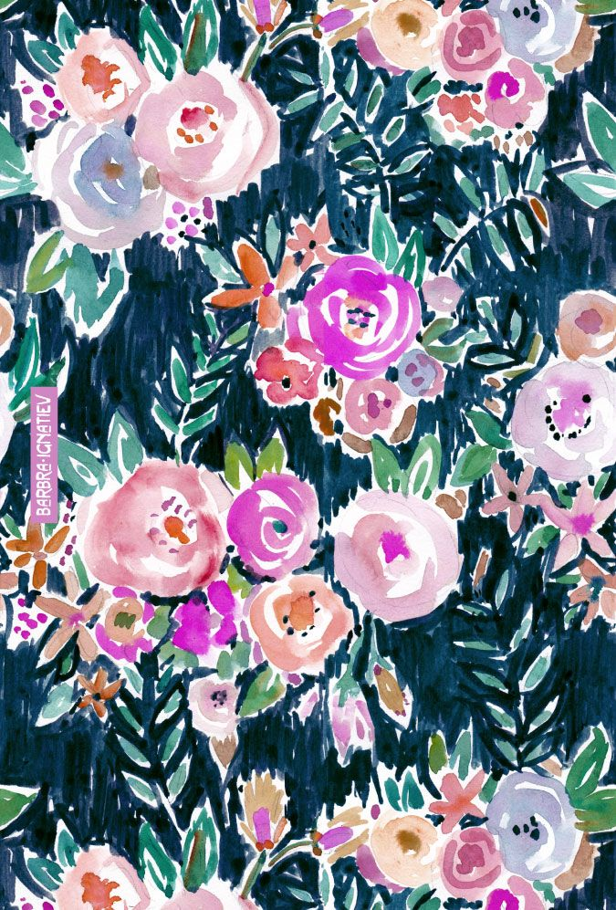 MIDNIGHT PROFUSION FLORAL print | Barbarian by Barbra Ignatiev #floral #darkfloral #print #roses