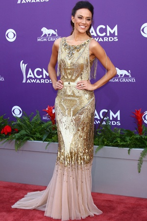 "Brantley Gilbert called fiancé Jana Kramer at the ACMs (in a Badgley Mischaka dress) ""so gorgeous it makes me nervous."" Aw! :)"