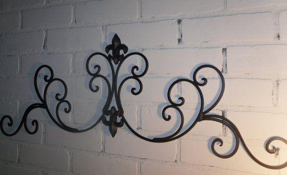 Wrought Iron /Fleur De Lis Wall Decor / Shabby Chic Decor