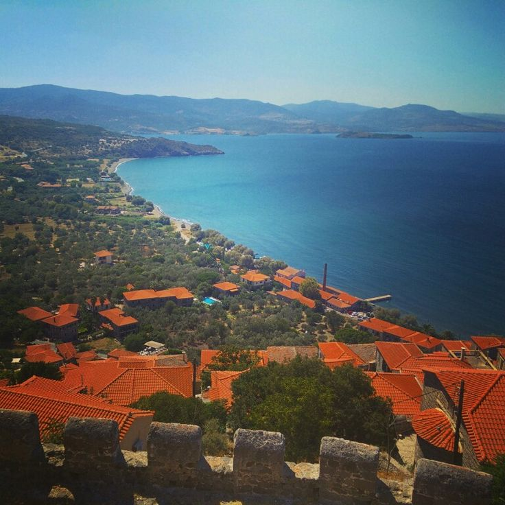 The beautiful view from the very old castle of Molyvos (Lesvos, Greece)