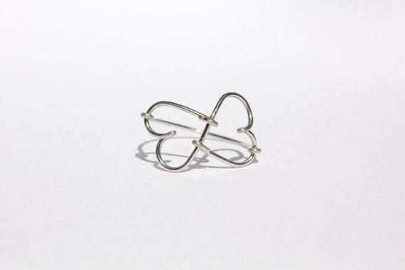 Silver Infinity Heart Wire Ring