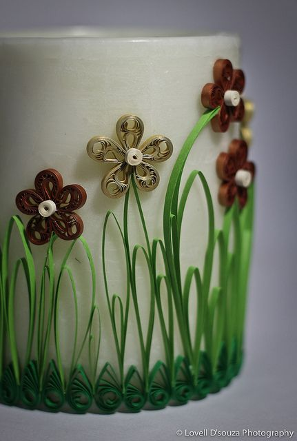 quilling on a candle - i remember doing quilling when i was younger this candle is awesome! maybe when she's older we can do this again