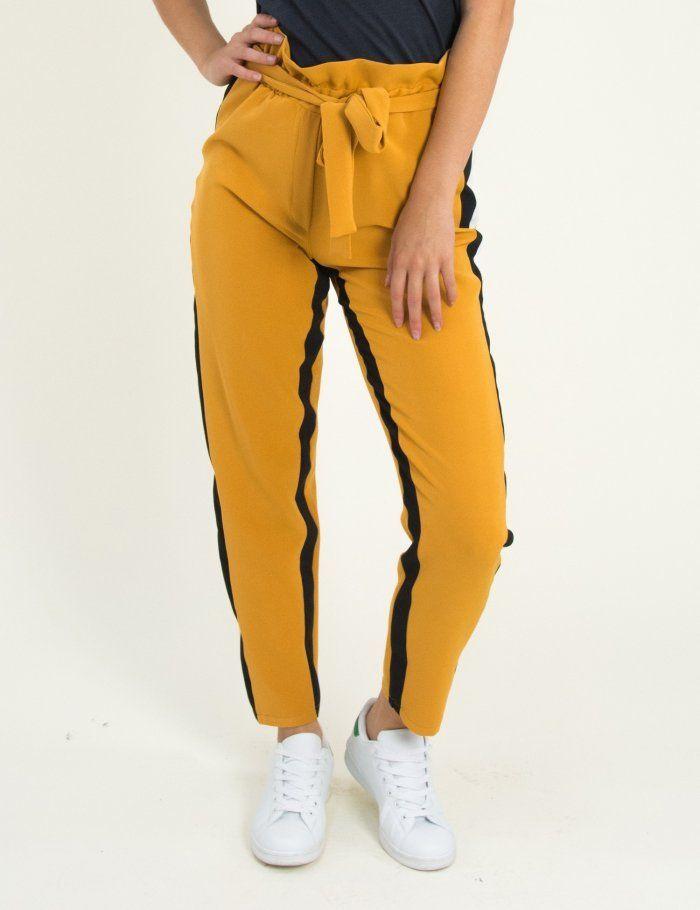 18812bb038 Γυναικείο ώχρα υφασμάτινο παντελόνι με διπλές ρίγες 8309176G  torouxo   torouxo  φθινοπωρινά παντελόνια
