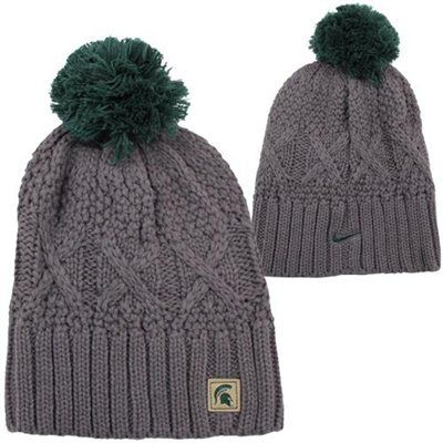 Nike Michigan State Spartans Ladies Cable Knit Pom-Pom Beanie - Gray
