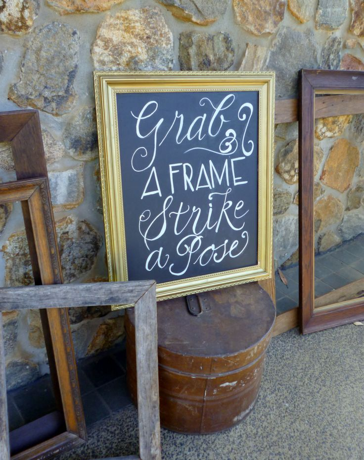 Gold Chalkboard Frame & Rustic Tin Hat Box from www.capeoflove.com