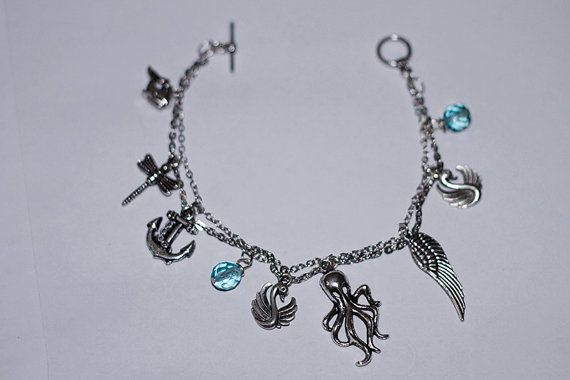Handmade, one of a kind nautical charm bracelet.